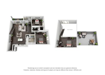 Two Bedroom, Two Bath Loft Floor Plan at The Mansfield at Miracle Mile, Los Angeles, California, opens a dialog