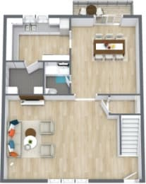 Floor Plan 3 Bedroom 2 1/2 Bath Townhome, opens a dialog