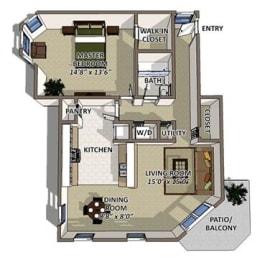 South Hampton floor plan at The Villages of Banyan Grove Apartments in Boynton Beach, opens a dialog