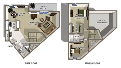 Nassau floor plan at The Villages of Banyan Grove Apartments for rent in Boynton Beach FL, opens a dialog