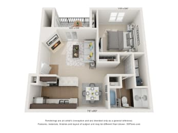 Dogwood 1Bed_1Bath at River Oak Apartments, Louisville, KY, 40206, opens a dialog