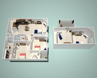 2 Bed - 2 Bath E1 - Penthouse Floor Plan at The Social, North Hollywood, California