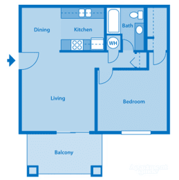 Catalina Canyon 1A Floor Plan Image depicting layout. Balcony, living room and kitchen on the left. Bedroom and bathroom on the right., opens a dialog