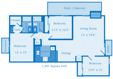 Cottonwood Creek 3 Bedroom Floor Plan image depicting layout. Patio/Balcony, bedroom and bathrooms on the left. Kitchen 2nd bedroom in the middle. Living room, large patio, and 3rd bedroom on the right., opens a dialog