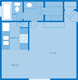 Rio Vista Studio Apartment Layout image., opens a dialog