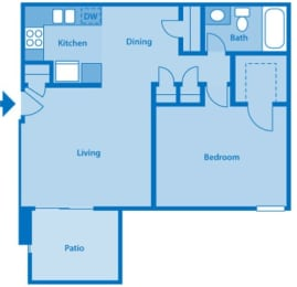 Somerpointe Apartments The Amber floor plan depicting layout of home., opens a dialog