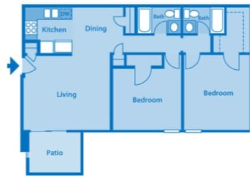 Somerpointe Apartments The Ruby floor plan depicting layout of home., opens a dialog