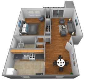 Floor Plan 1 Bedroom 1 Bath, opens a dialog