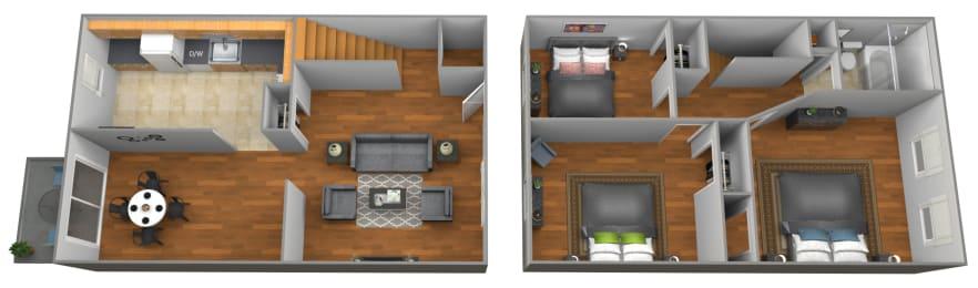 Floor Plan 3 Bedroom 1 Bath, opens a dialog