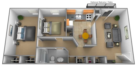 Floor Plan Two Bedroom One Bath, opens a dialog