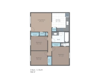 Three bedroom one and a half bath two dimensional floor plan., opens a dialog