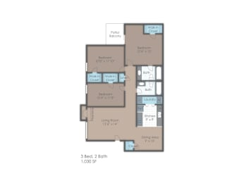 Three bedroom apartment floorplan layout, opens a dialog