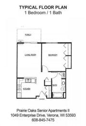 Floor Plan 1 Bedroom / 1Bath, opens a dialog
