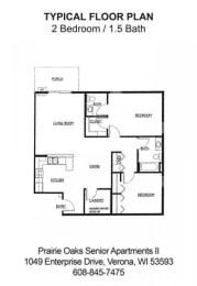 Floor Plan 2 Bedroom / 1.5 Bath, opens a dialog