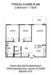 Floor Plan 2 Bedroom / 1Bath B, opens a dialog
