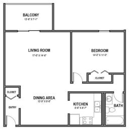 Walnut Crossings 1 BR, 1 Bath, Balcony, Walnut Crossings Apartments, Monroeville, PA, opens a dialog