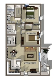 The Charleston floor plan at Summerville Station Apartments for rent in Summerville, opens a dialog