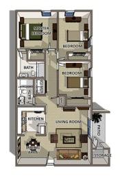 The Savannah floor plan at Summerville Station Apartments in Summerville SC, opens a dialog