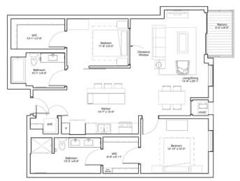 Vintage on Selby Apartments 2 Bedroom Apartment Layout, opens a dialog