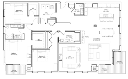 Vintage on Selby Apartments 3 Bedroom Apartment Floor Plan, opens a dialog