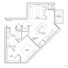 Vintage on Selby Apartments 1 Bedroom Apartment Layout, opens a dialog