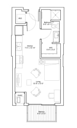 Vintage on Selby Apartments Studio Apartment Floor Plan, opens a dialog