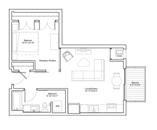 Vintage on Selby Apartments 1 Bedroom Apartment Floor Plan, opens a dialog