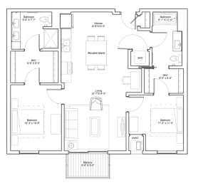 2 Bedroom Apartment Floor Plan Vintage on Selby Apartments, opens a dialog