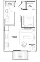 Vintage on Selby Apartments Studio Apartment Layout, opens a dialog