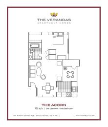 1 Bed 1 Bath Floor plan at The Verandas Apartment Homes, West Covina, California, opens a dialog
