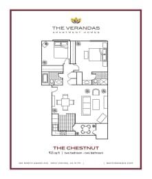 2 Bed 2 Bath Floor plan at The Verandas Apartment Homes, 200 N. Grand Avenue, 91791, opens a dialog