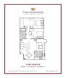2 Bed 1 Bath Floor plan at The Verandas Apartment Homes, CA, 91791, opens a dialog