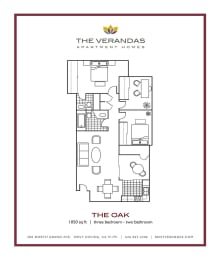 3 Bed 2 Bath Floor plan at The Verandas Apartment Homes, West Covina, 91791, opens a dialog
