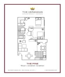 2 Bed 2 Bath Floor plan at The Verandas Apartment Homes, 200 N. Grand Avenue, West Covina, CA, opens a dialog