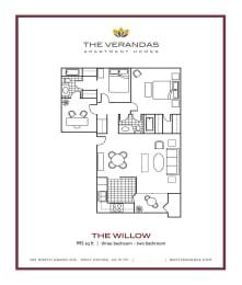 3 Bed 2 Bath Floor plan at The Verandas Apartment Homes, West Covina, CA, opens a dialog