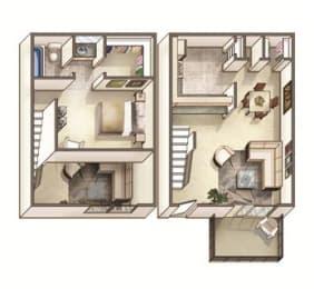 The Lakehurst Floor Plan at Woodcreek Apartments, North Carolina, 27511, opens a dialog