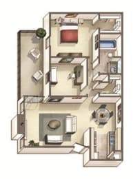 The Westfield Floor Plan at Woodcreek Apartments, Cary, NC, 27511, opens a dialog