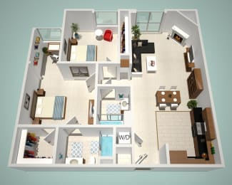 2 Bed - 2 Bath C-CR Floor Plan at The Social, North Hollywood, CA, 91601