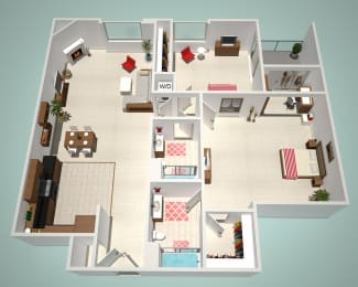 2 Bed - 2 Bath L Floor Plan at The Social, North Hollywood, 91601