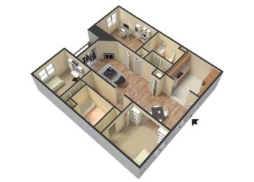 3 Bed - 2 Bath Marbella Floor Plan at Le Blanc Apartment Homes, Canoga Park