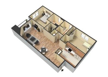 2 Bed - 2 Bath Santorini Floor Plan at Le Blanc Apartment Homes, Canoga Park