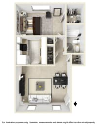 One Bed One Bath Floor Plan at Country Club Apartments, Williamsburg, opens a dialog