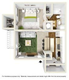 The Spruce Floor Plan at Willow Ridge Apartments, Charlotte, 28210, opens a dialog