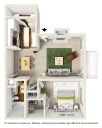 The Buttonwood Floor Plan at Willow Ridge Apartments, Charlotte, North Carolina, opens a dialog