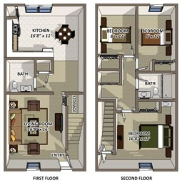 The Charleston floor plan at Hyde Park Townhomes and Aparments in Chester VA, opens a dialog