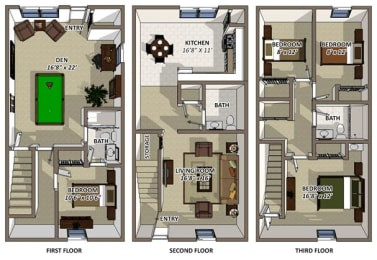 The Colonial floor plans at Hyde Park Townhomes and Apartments in Chester VA, opens a dialog