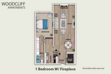 Floor Plan 1 Bedroom W/ Fireplace, opens a dialog