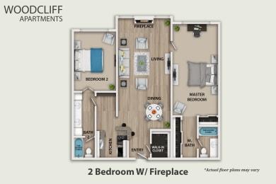 Floor Plan 2 Bedroom W/ Fireplace, opens a dialog