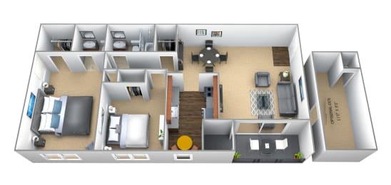Floor Plan 2 Bedroom 1.5 Bath, opens a dialog