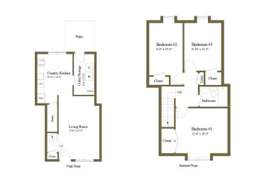 Floor Plan 3 Bedrooms 1 Bath, opens a dialog